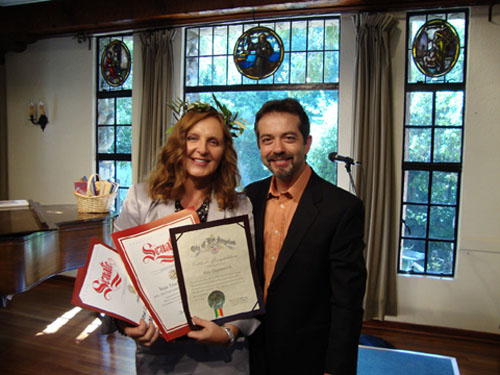 Maja Trochimczyk as Poet Laureate of Sunland-Tujunga with 