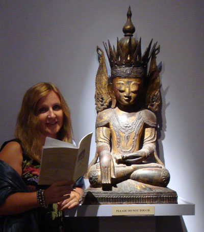 Maja Trochimczyk with Seated Buddha from Burma, Pacific Asia Museum, September 2009