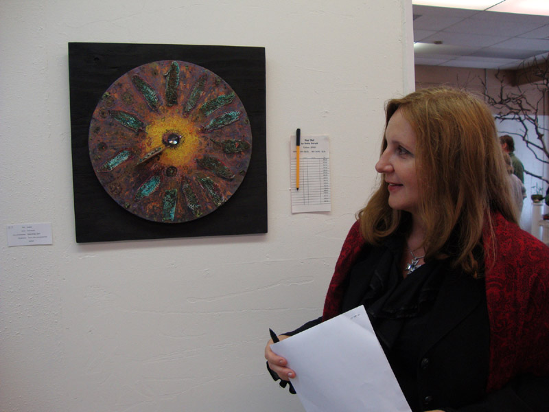 At Healing from the Ashes exhibition, with Sundial by Ruth Dutoit